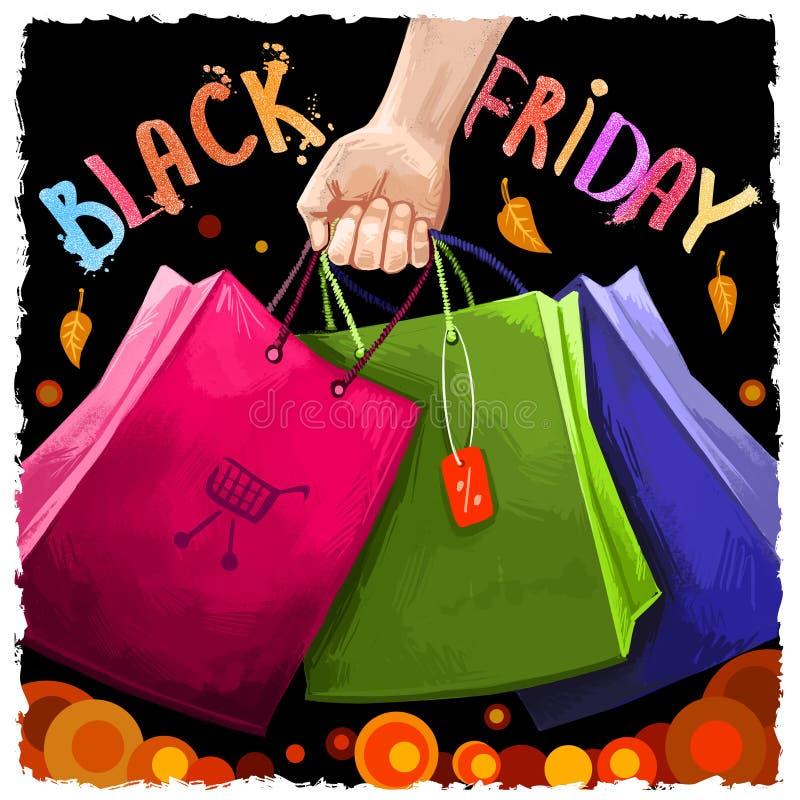 Illustrazione digitale di arte di vendita nera di venerdì 25 novembre tradizione di compera annuale Insegna commerciale di giorno illustrazione di stock