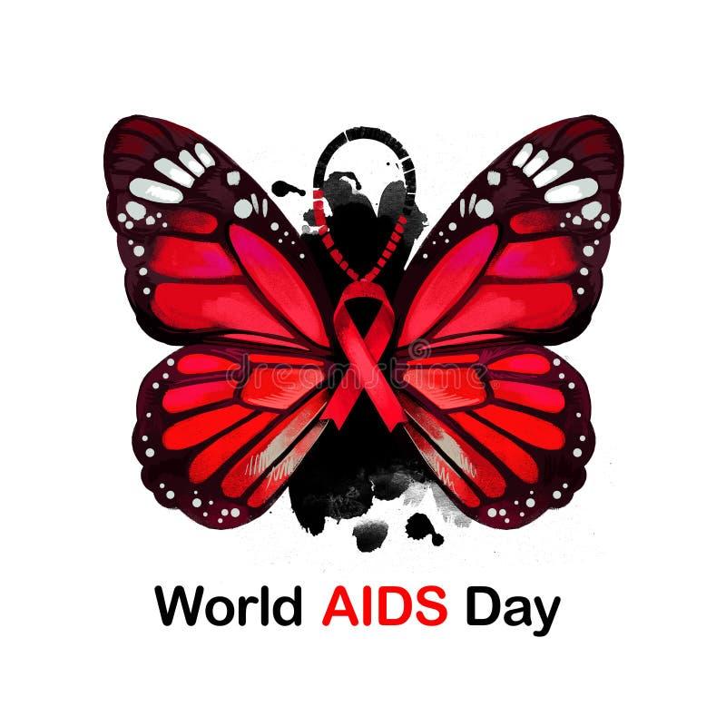 Illustrazione digitale per il web, stampa, progettazione di arte di Giornata mondiale contro l'AIDS La campagna globale di salute illustrazione di stock