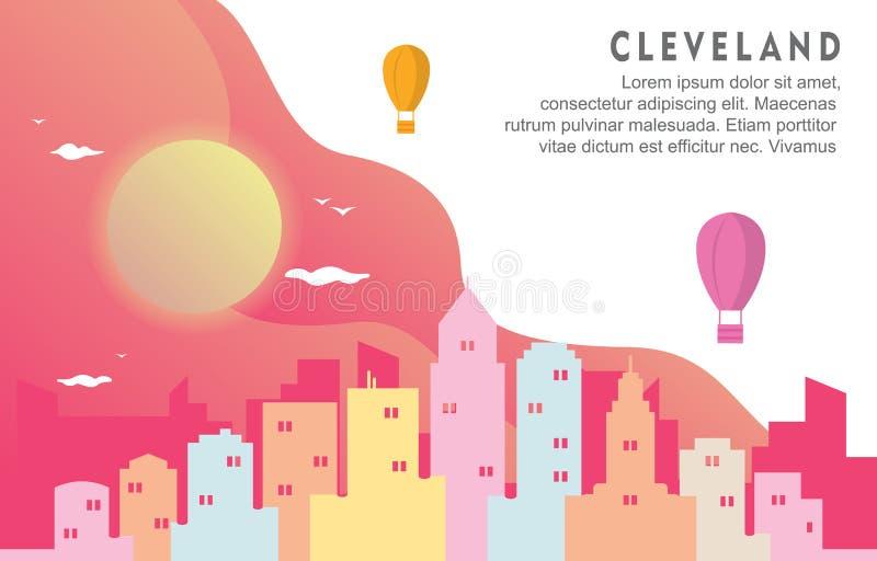 Illustrazione dinamica del fondo dell'orizzonte di Cleveland Ohio City Building Cityscape illustrazione vettoriale