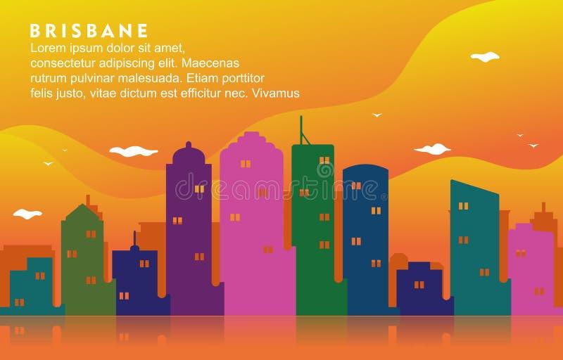 Illustrazione dinamica del fondo dell'orizzonte di paesaggio urbano della costruzione della città di Brisbane Australia illustrazione vettoriale