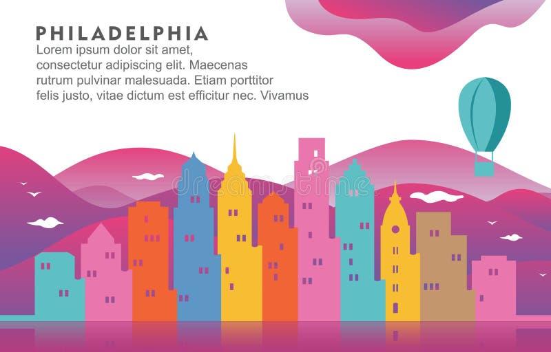 Illustrazione dinamica del fondo dell'orizzonte di paesaggio urbano della costruzione della città di Filadelfia Pensilvania royalty illustrazione gratis