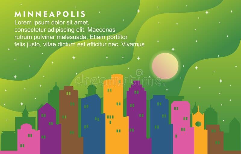 Illustrazione dinamica del fondo dell'orizzonte di paesaggio urbano della costruzione della città di Minneapolis Minnesota illustrazione vettoriale