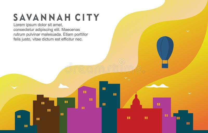 Illustrazione dinamica del fondo di Savannah Georgia City Building Cityscape Skyline illustrazione vettoriale