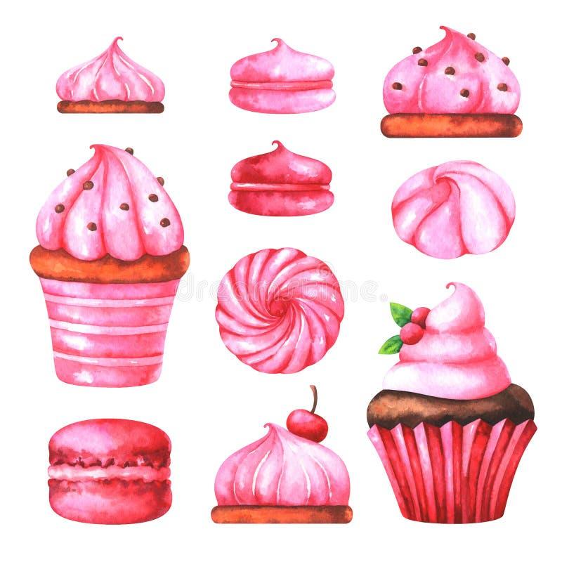 Illustrazione dipinta a mano con i maccheroni, le caramelle gommosa e molle ed il muffin dell'acquerello royalty illustrazione gratis