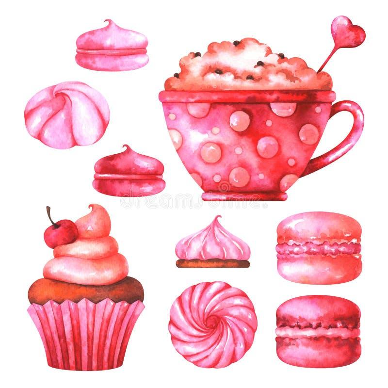 Illustrazione dipinta a mano con i maccheroni, le caramelle gommosa e molle, la tazza con caffè ed il muffin dell'acquerello illustrazione vettoriale