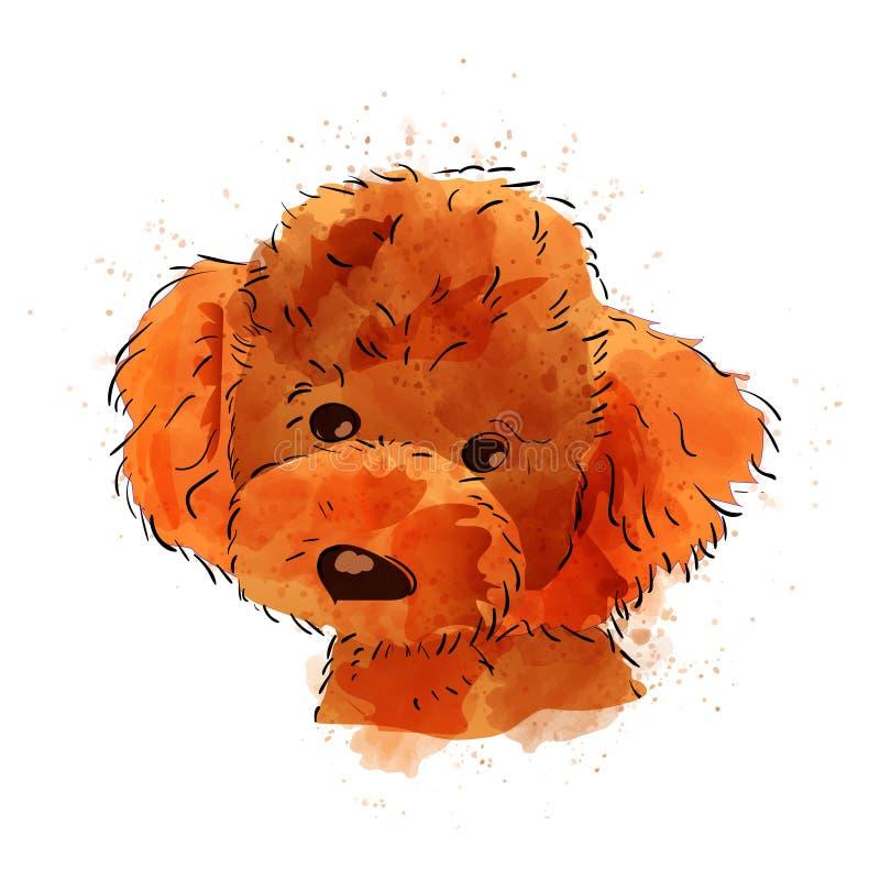 Illustrazione dipinta a mano dell'acquerello del cane isolata illustrazione di stock