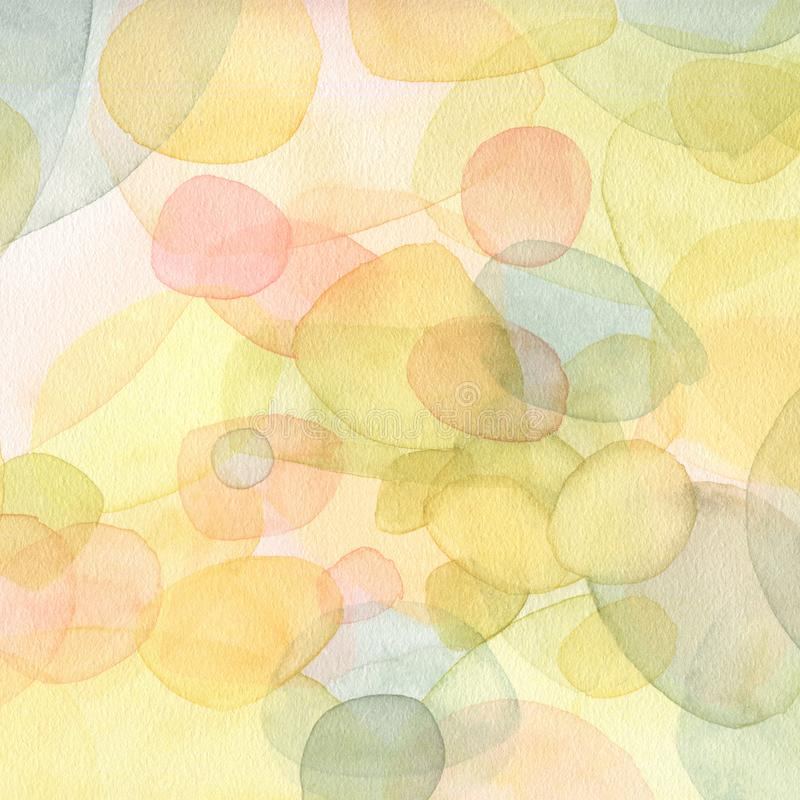 Illustrazione dipinta a mano dell'acquerello Fondo astratto nel colore verde e giallo royalty illustrazione gratis