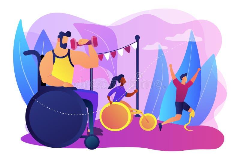 Illustrazione disabile di vettore di concetto di sport illustrazione di stock