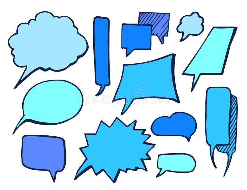 Illustrazione disegnata blu di vettore dell'elemento delle bolle royalty illustrazione gratis