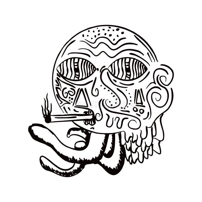 Illustrazione disegnata a mano bruciante di vettore di diya Stile tradizionale del disegno di schizzo della lanterna royalty illustrazione gratis