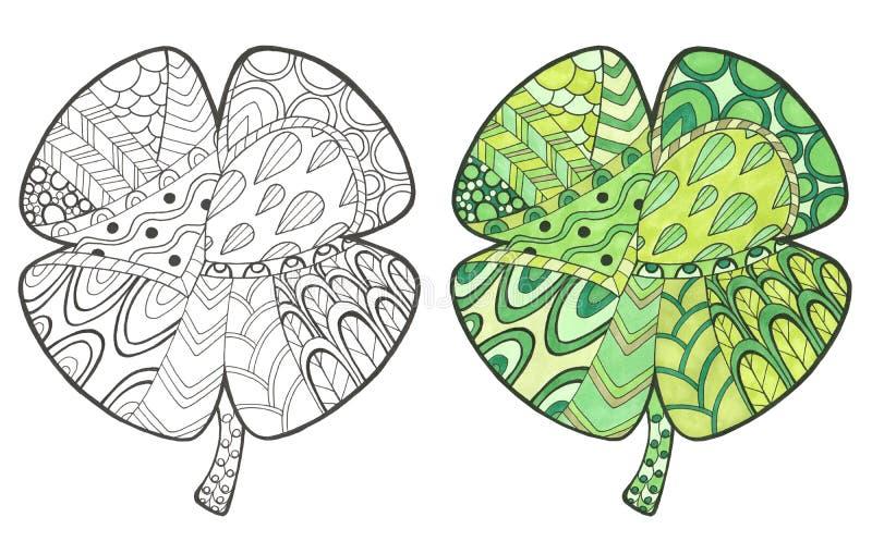 Illustrazione disegnata a mano con il trifoglio di colore e di scarabocchio illustrazione di stock