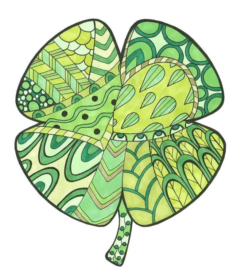 Illustrazione disegnata a mano con il trifoglio di verde di colore e di scarabocchio illustrazione di stock
