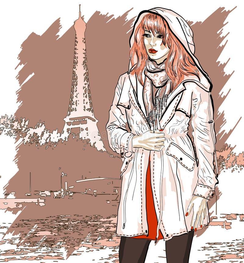 Illustrazione disegnata a mano con una ragazza di modo illustrazione di stock