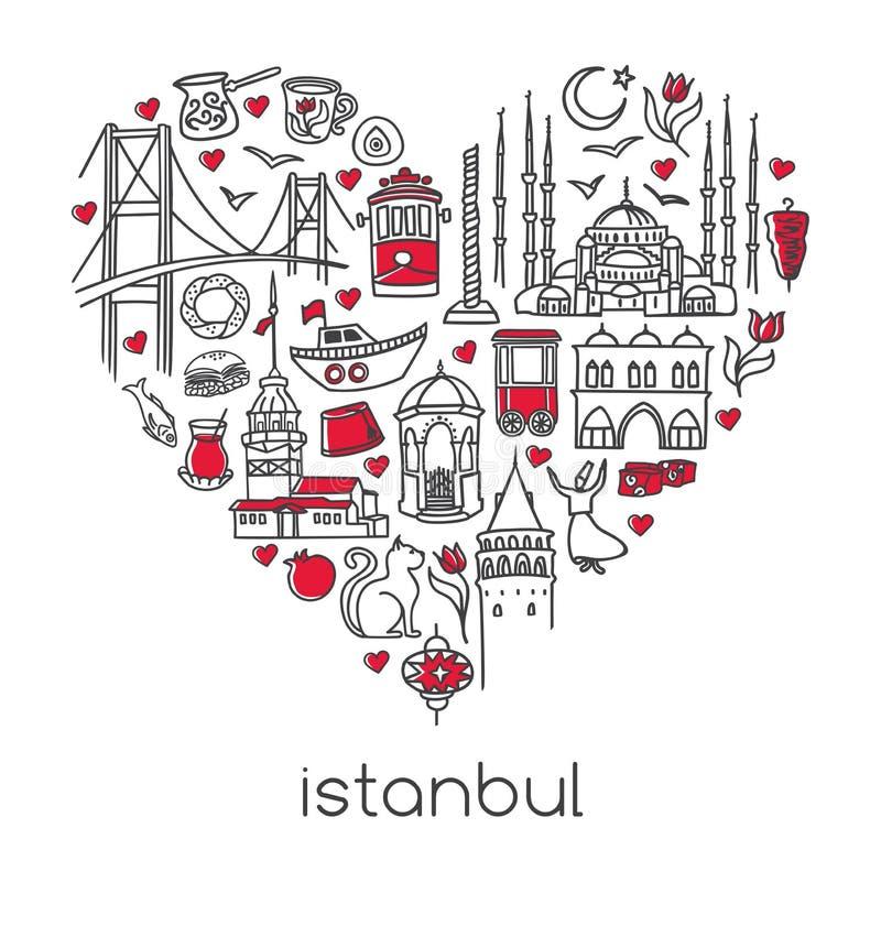 Illustrazione disegnata a mano Costantinopoli di vettore dei simboli turchi famosi nella forma del cuore illustrazione di stock