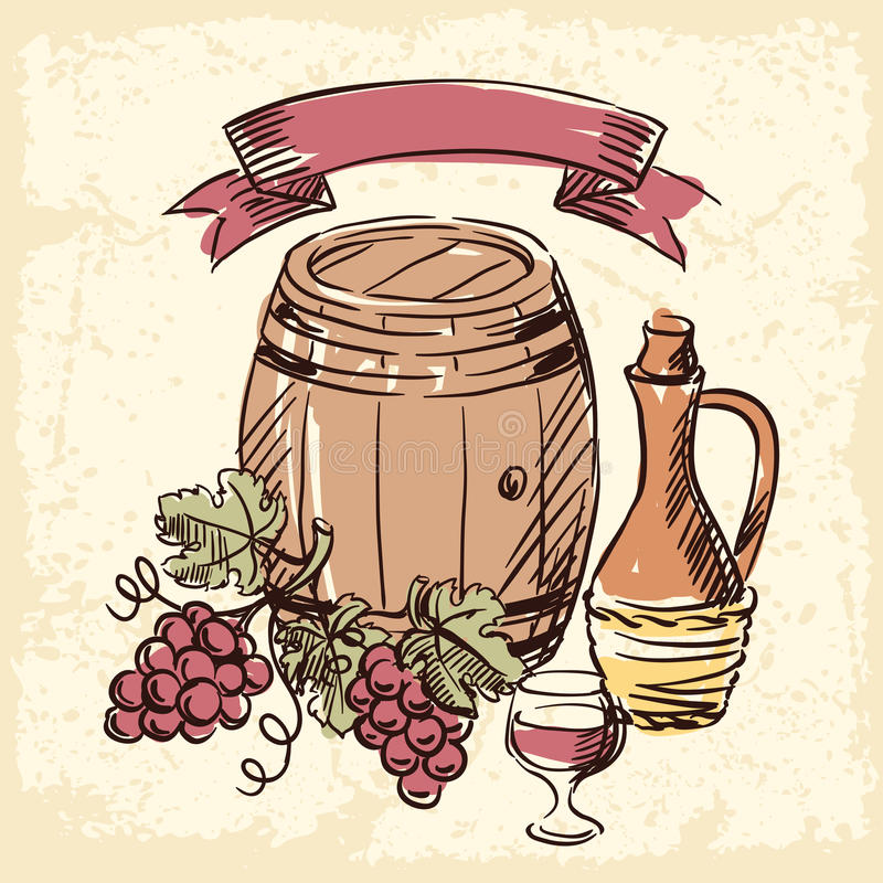Illustrazione disegnata a mano d'annata del vino illustrazione vettoriale