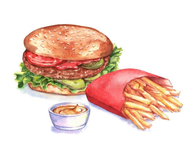 Illustrazione disegnata a mano degli alimenti a rapida preparazione dell'acquerello fotografia stock