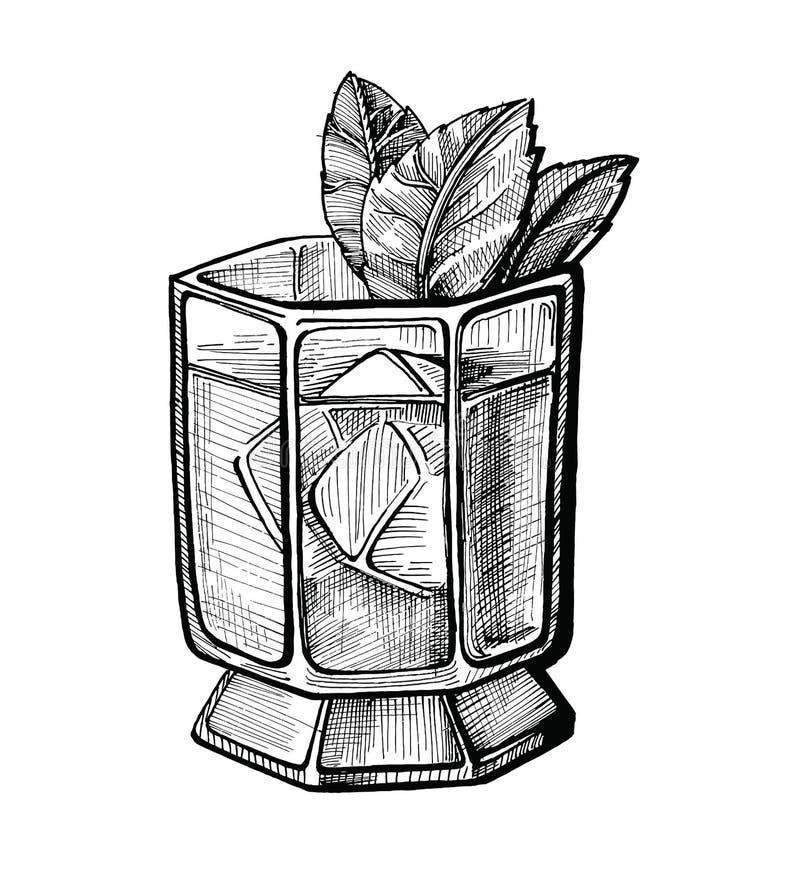Illustrazione disegnata a mano del cocktail dell'alcool immagine stock libera da diritti