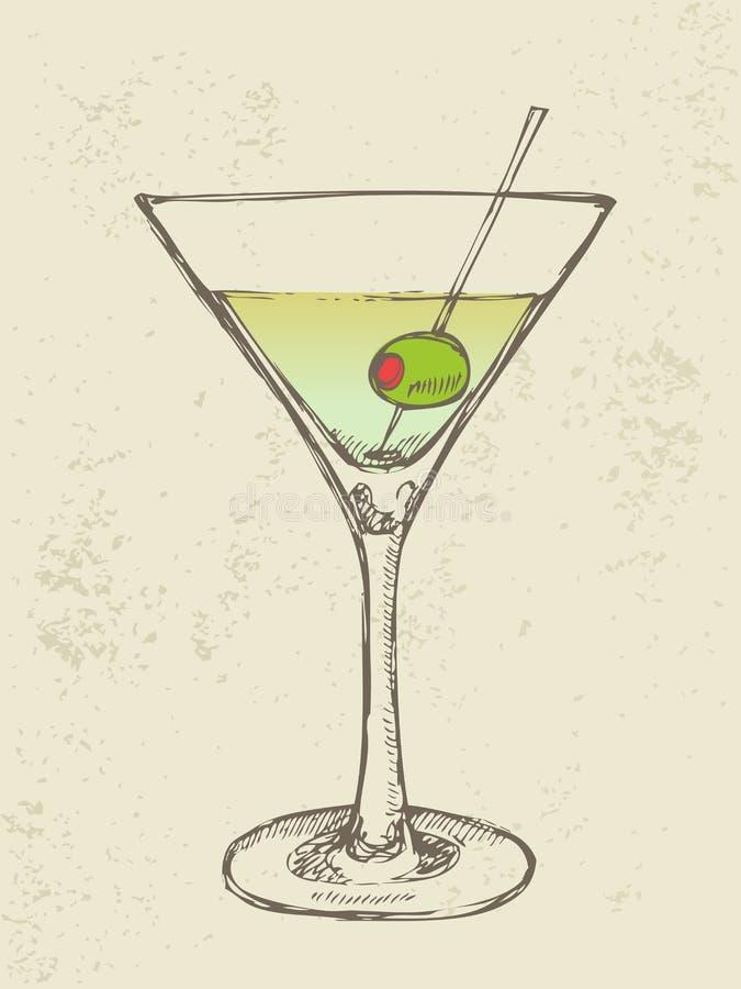 Illustrazione disegnata a mano del cocktail ghiacciato illustrazione vettoriale