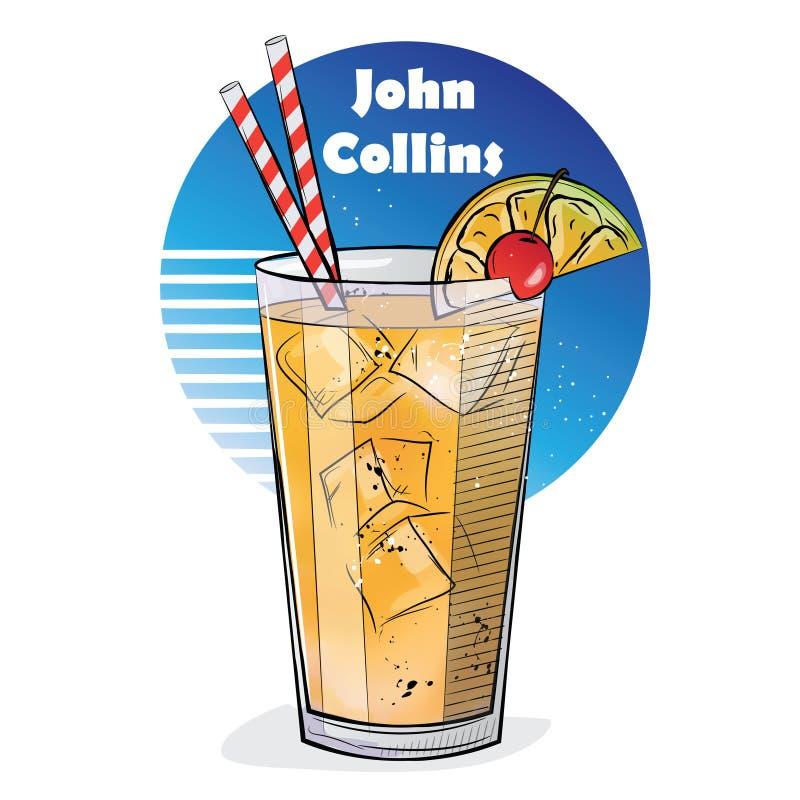 Illustrazione disegnata a mano del cocktail JOHN COLLINS illustrazione di stock