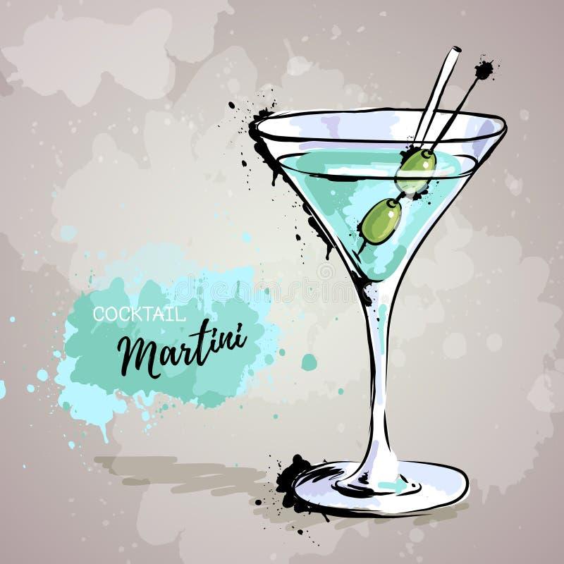 Illustrazione disegnata a mano del cocktail martini illustrazione di stock