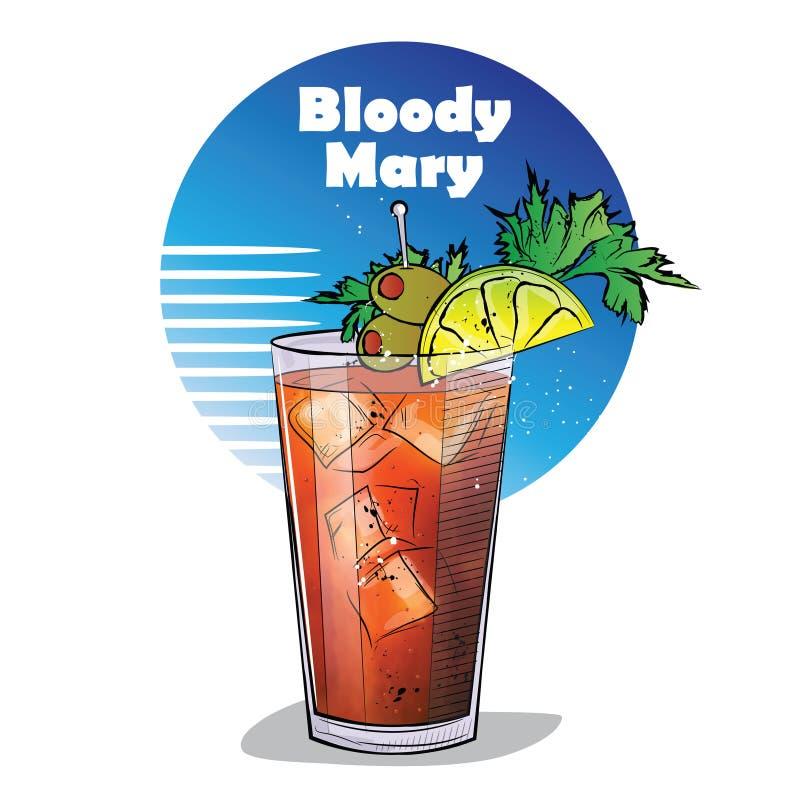 Illustrazione disegnata a mano del cocktail Mary sanguinante illustrazione di stock