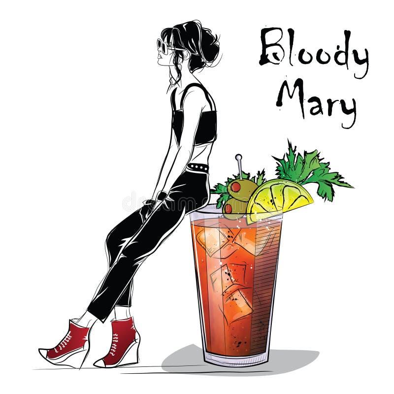 Illustrazione disegnata a mano del cocktail Mary sanguinante illustrazione vettoriale