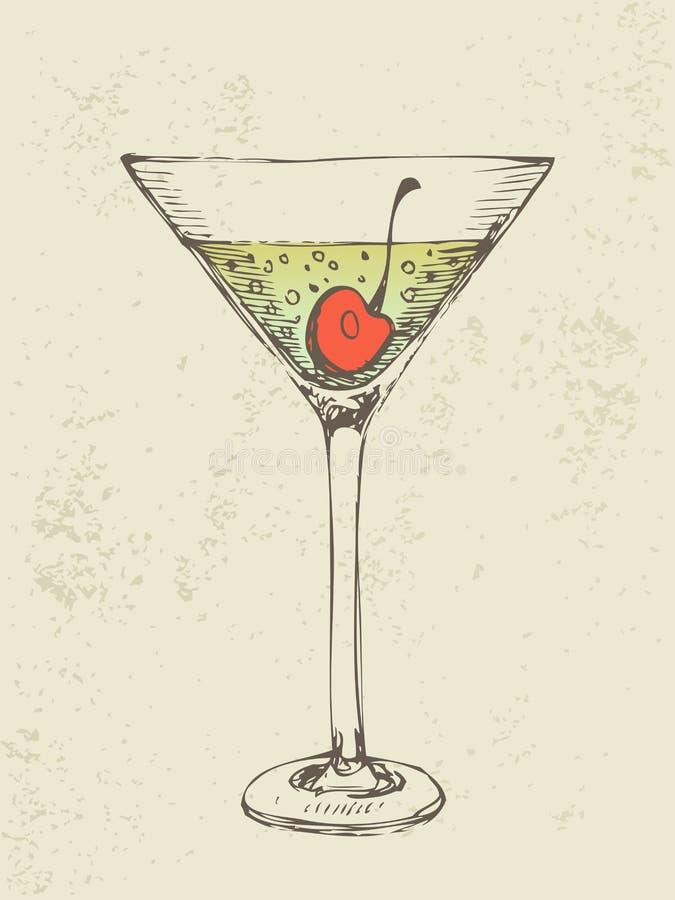 Illustrazione disegnata a mano del cocktail tropicale ghiacciato. illustrazione vettoriale
