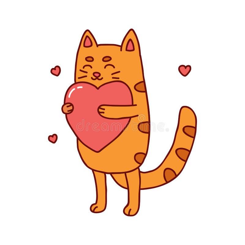 Illustrazione disegnata a mano del gatto sveglio con cuore fotografia stock