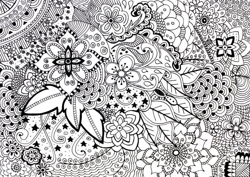 Illustrazione disegnata a mano del libro da colorare adulto illustrazione vettoriale