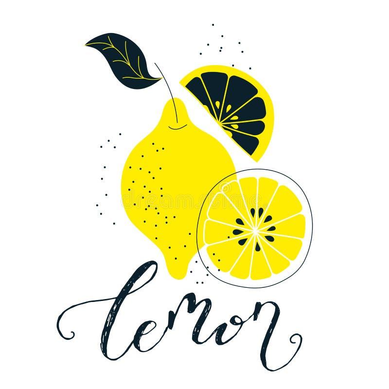 Illustrazione disegnata a mano del limone con iscrizione Fondo naturale fresco della frutta Insegna di vettore, paster, progettaz illustrazione vettoriale