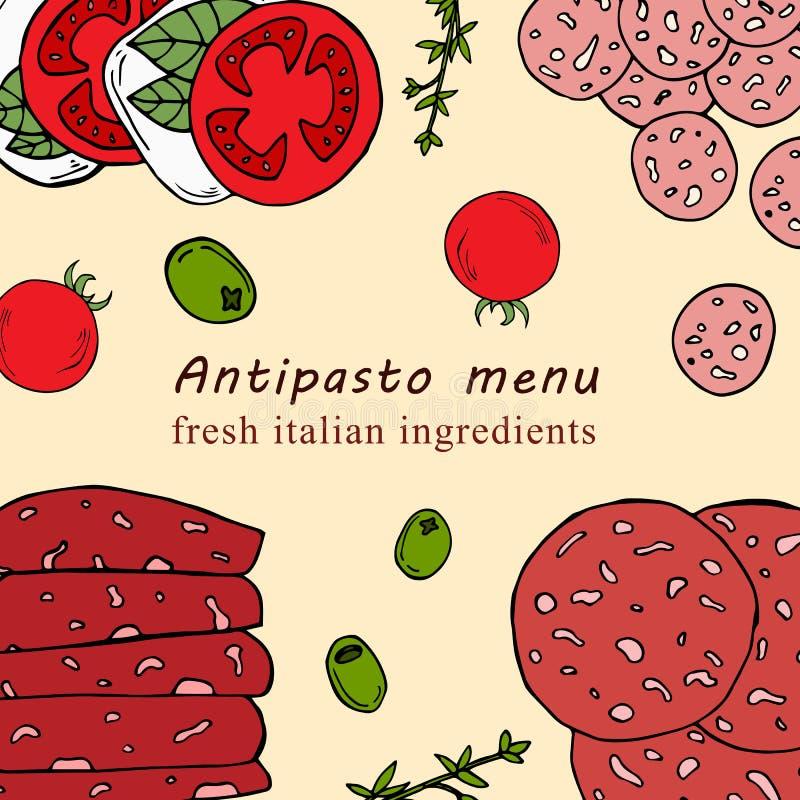 Illustrazione disegnata a mano del menu dell'antipasto nello stile del fumetto illustrazione di stock