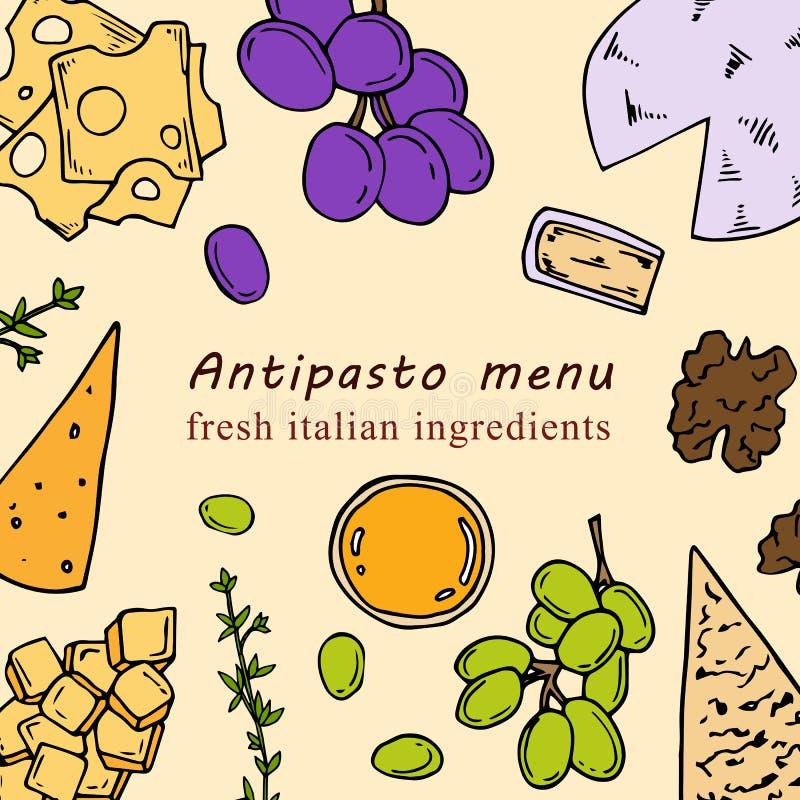 Illustrazione disegnata a mano del menu dell'antipasto nello stile del fumetto royalty illustrazione gratis