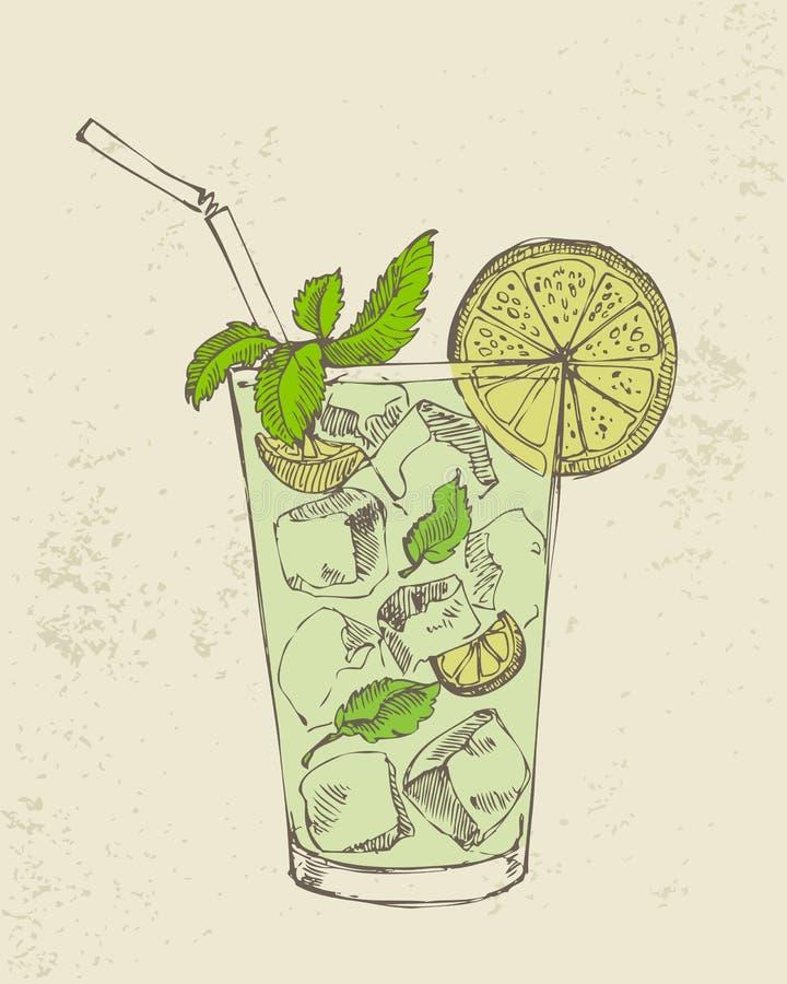 Illustrazione disegnata a mano del mojito. illustrazione di stock