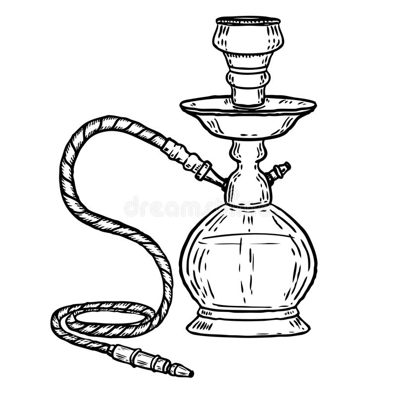 Illustrazione disegnata a mano del narghilé isolata su fondo bianco Progetti l'elemento per il logo, l'etichetta, l'emblema, segn royalty illustrazione gratis