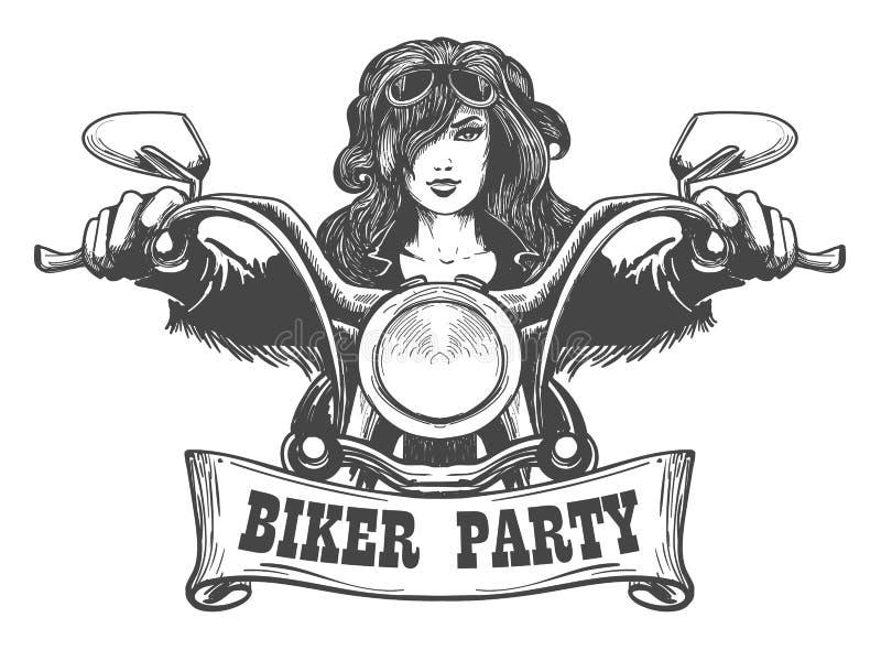 Illustrazione disegnata a mano del partito del motociclista royalty illustrazione gratis