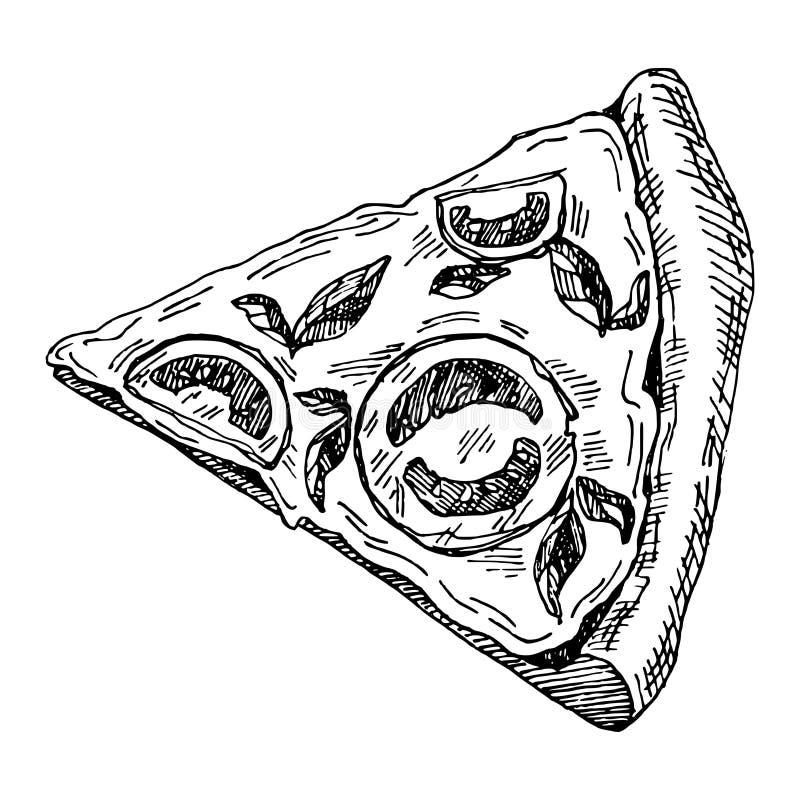 Illustrazione disegnata a mano del pezzo di pizza immagine stock
