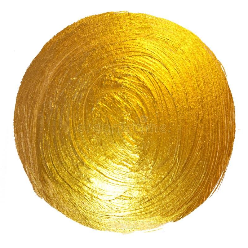 Illustrazione disegnata a mano del quadro televisivo della macchia brillante rotonda della pittura della stagnola di oro fotografia stock libera da diritti