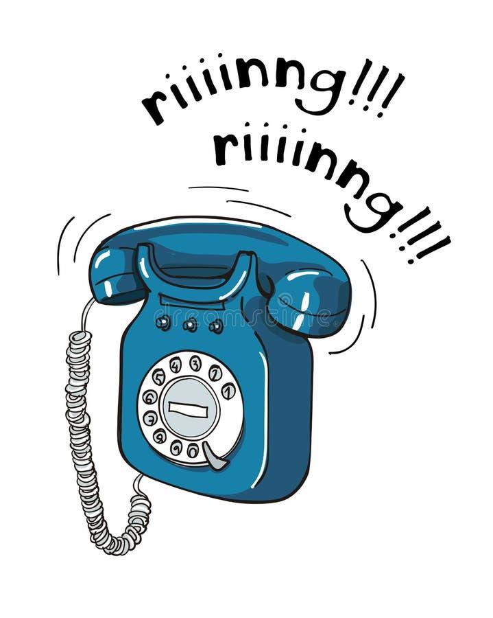 Illustrazione disegnata a mano del telefono blu d'annata illustrazione di stock