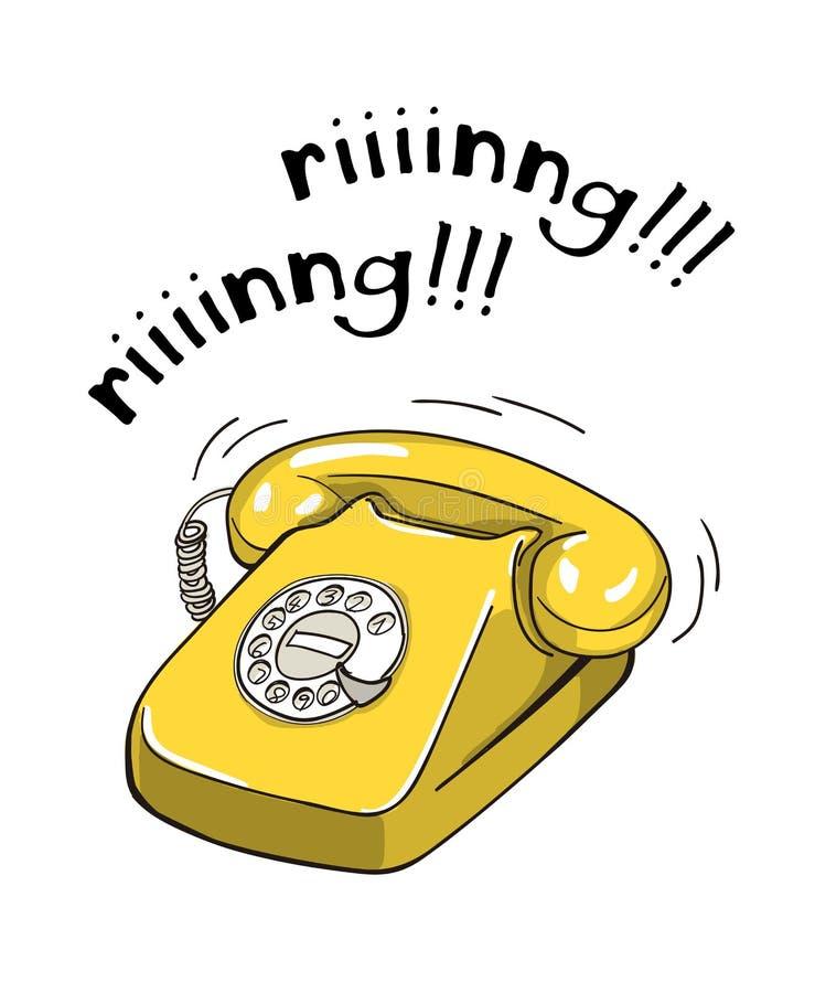 Illustrazione disegnata a mano del telefono giallo d'annata illustrazione di stock