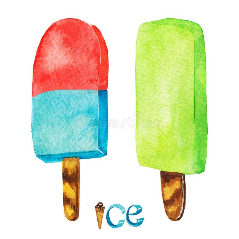 Illustrazione disegnata a mano deliziosa dolce del deserto Dessert di estate Gelato dell'acquerello isolato su un fondo bianco, s royalty illustrazione gratis