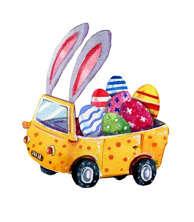 Illustrazione disegnata a mano dell'acquerello dell'automobile di pasqua con le orecchie e le uova del coniglietto dentro per le  illustrazione vettoriale