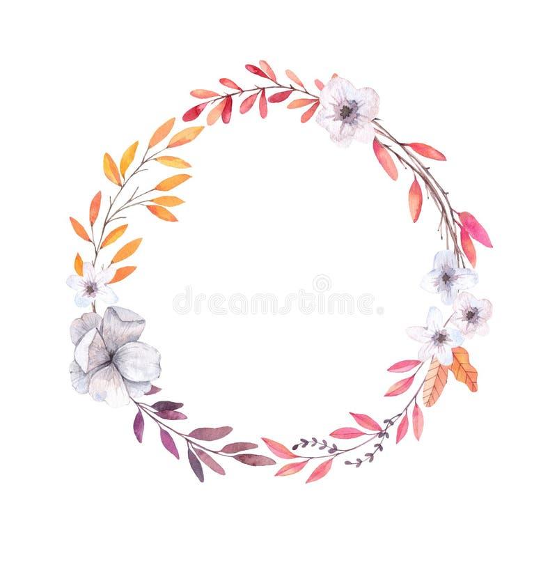 Illustrazione disegnata a mano dell'acquerello Autumn Wreath Fogli di caduta illustrazione vettoriale