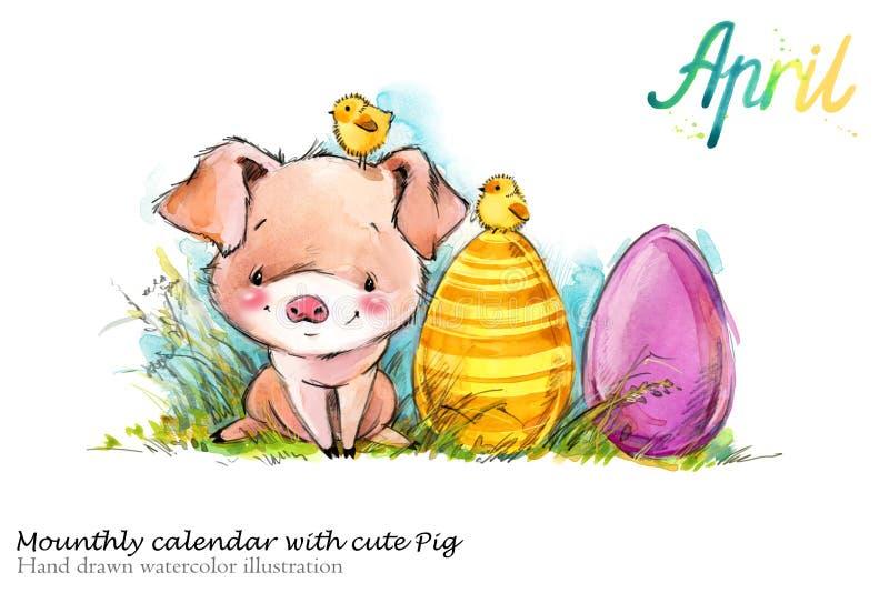 Illustrazione disegnata a mano dell'acquerello del maiale sveglio