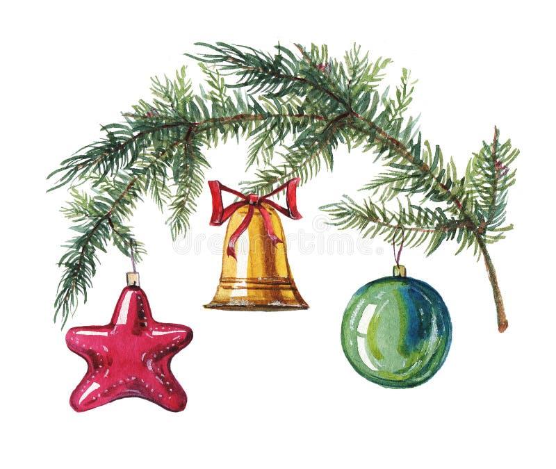 Illustrazione disegnata a mano dell'acquerello del ramo dell'abete con i giocattoli dell'albero di Natale royalty illustrazione gratis
