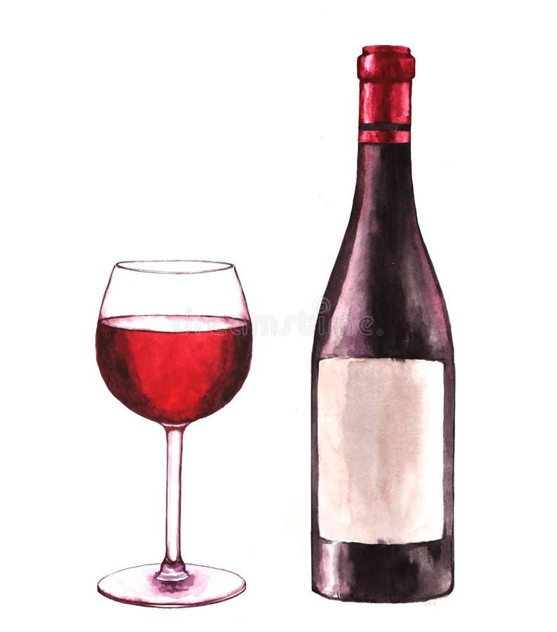 Illustrazione disegnata a mano dell'acquerello della bottiglia di vino e di un vetro di vino rosso fotografia stock libera da diritti