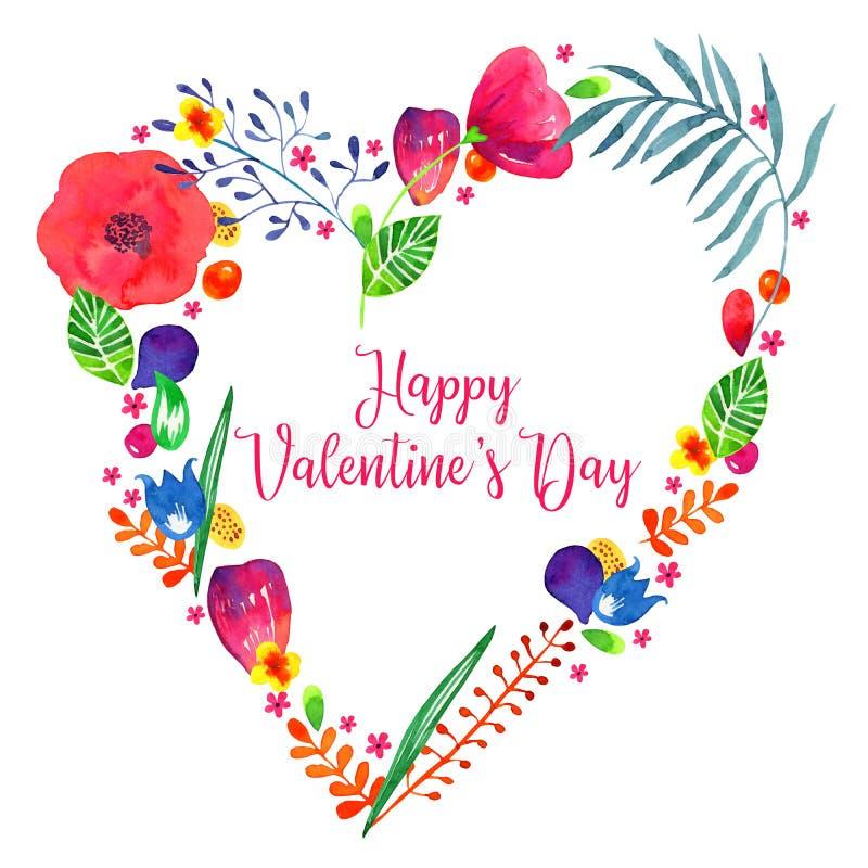 Illustrazione disegnata a mano dell'acquerello floreale del cuore Piante e fiori decorativi di schizzo nel telaio di forma del cu royalty illustrazione gratis