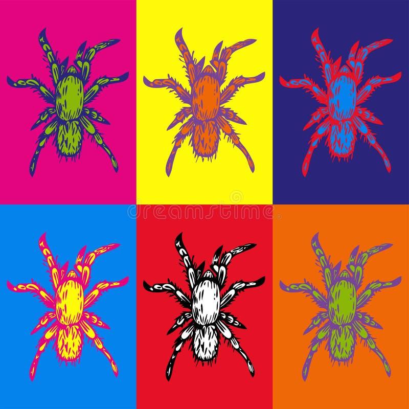 Illustrazione disegnata a mano dell'inchiostro di vettore di pochi ragni multicolori illustrazione di stock