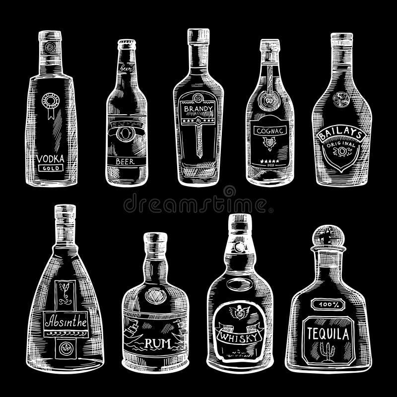 Illustrazione disegnata a mano dell'isolato differente delle bottiglie su fondo scuro Immagini di vettore messe illustrazione vettoriale