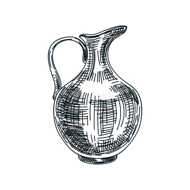 Illustrazione disegnata a mano della brocca del vino dell'argilla di vettore illustrazione vettoriale