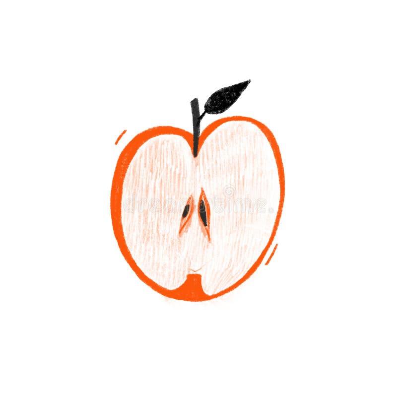 Illustrazione disegnata a mano della mela rossa Metà di frutta con i semi e la struttura fatta a mano illustrazione di stock